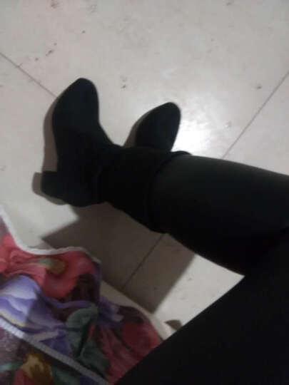 薇嫚 短靴女粗跟2018新款显瘦秋冬女靴中筒靴大码加绒瘦腿高跟袜靴子 米白色单里(5cm) 36 晒单图