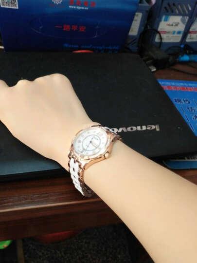 欧雷亚(OLEIR) 女士手表不锈钢陶瓷女表L6860 防水高端时尚女款水钻石英手表名牌手表进口机芯 白金色黑表带 晒单图