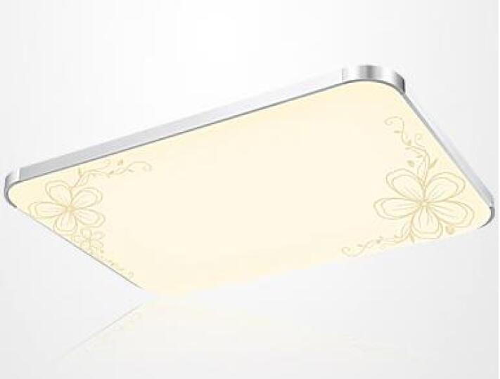 PLDDS灯饰led吸顶灯客厅长方形灯具卧室餐厅灯走廊过道卫生间水晶平板书房现代简约 纯白长105*65CM白光LED 晒单图