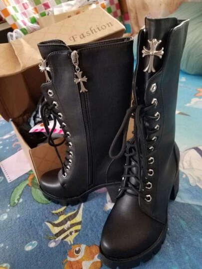 华洛威秋冬新款女靴中跟短靴女时尚粗跟马丁靴防水台中筒系带机车女靴子 黑色单里(十字架) 36 晒单图