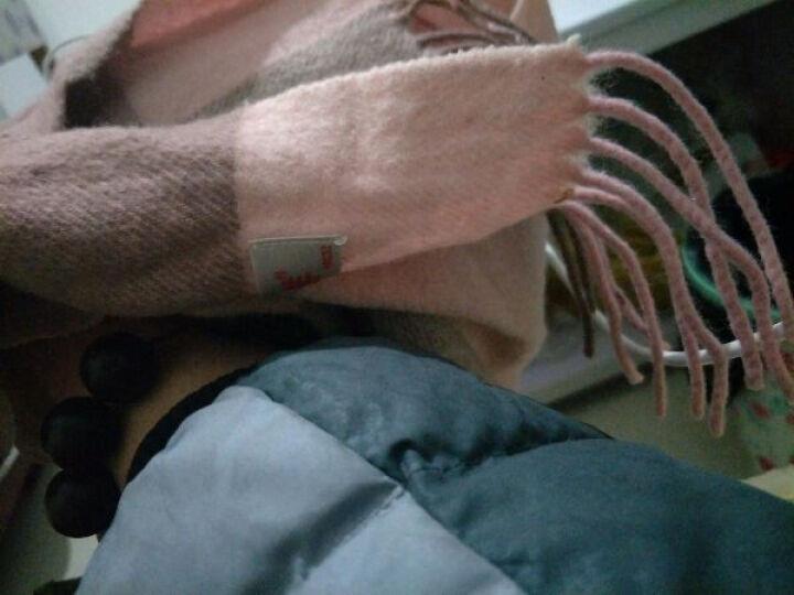 恒源祥羊毛围巾女士大披肩两用冬天格子情侣围脖加厚秋冬季 020#紫兰灰格 180*30 cm 晒单图