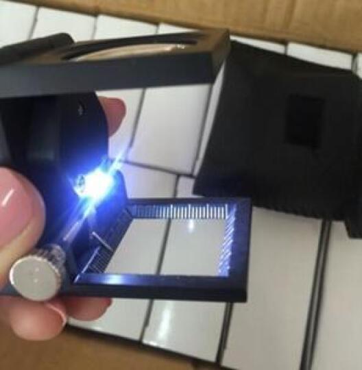 童鸽 放大镜 10倍便携台式可折叠带刻度LED灯三折式金属框面料检测鉴定光学镜片照布镜 主图色 55*40*50mm 晒单图