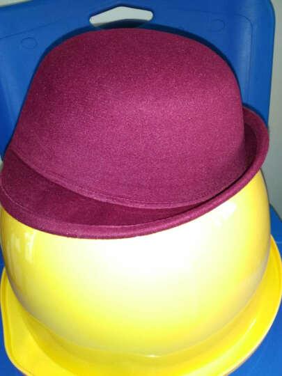 小礼帽翻边小圆顶帽英伦复古女造型帽子韩版卷边盆帽子 俏皮呢子 酒红色 晒单图