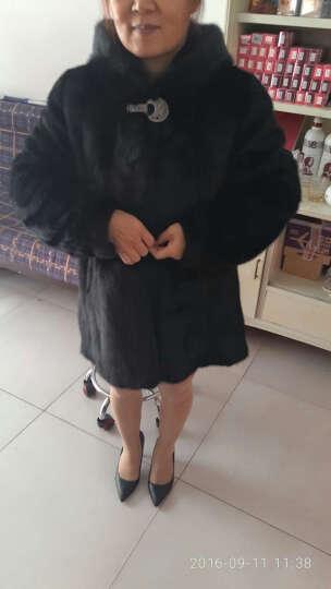 麦卡希妮 2019新款特价进口貂皮大衣女款整貂带帽水貂皮草裘皮中长款外套 黑色 L 晒单图