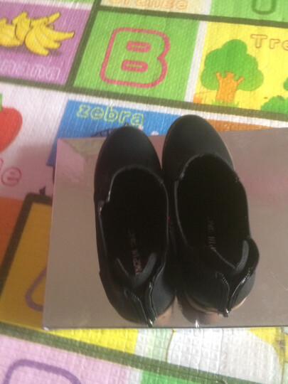 口口坊粗跟马丁靴英伦女短靴秋冬女靴圆头低筒靴2016新款办公室工作鞋靴系鞋带裸靴 黑色ML70061 35 晒单图
