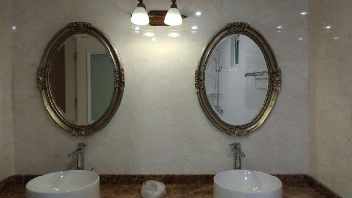 喜家喜 美式LED镜前灯卫生间浴室梳妆台柜镜柜灯铁艺仿铜复古卧室床头镜画灯壁灯 2头 晒单图