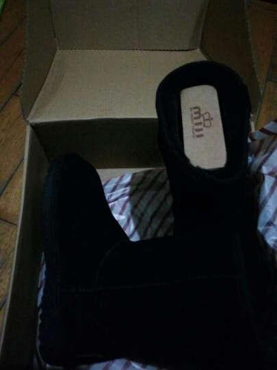 米基冬季新款牛皮中筒雪地靴女款 经典中筒靴子厚雪地棉 女鞋 黑色 36 晒单图