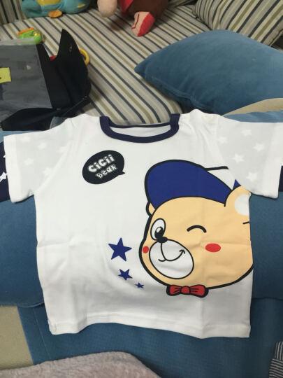 齐齐熊 2017新款婴儿衣服纯棉儿童上衣 宝宝卡通小熊假两件T恤 白色 130cm建议身高114-122cm 晒单图