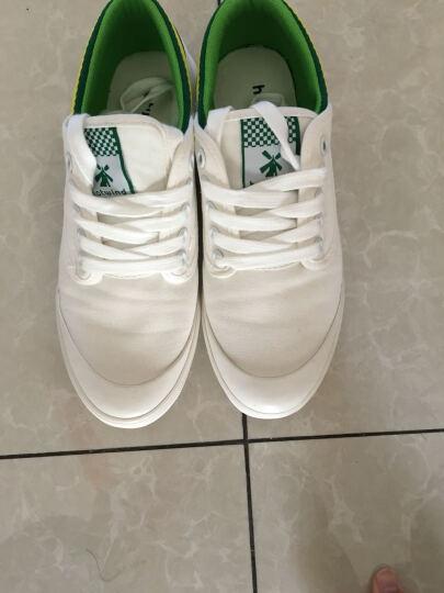 热风帆布鞋女新款运动板鞋学院风学生小白鞋女式撞色系带休闲鞋 04白色 38 晒单图