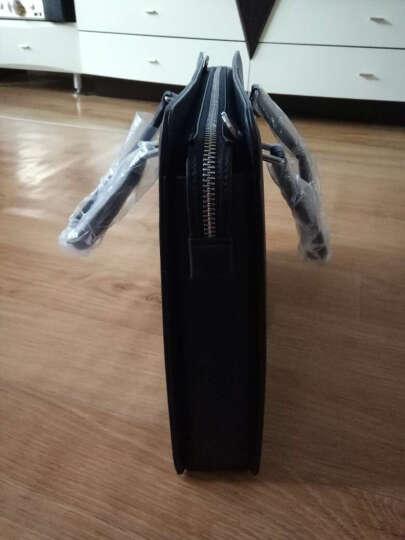 高尔夫GOLF男士公文包 牛皮商务手提包单肩包大容量男包 休闲电脑包 简约商务啡色1962 晒单图