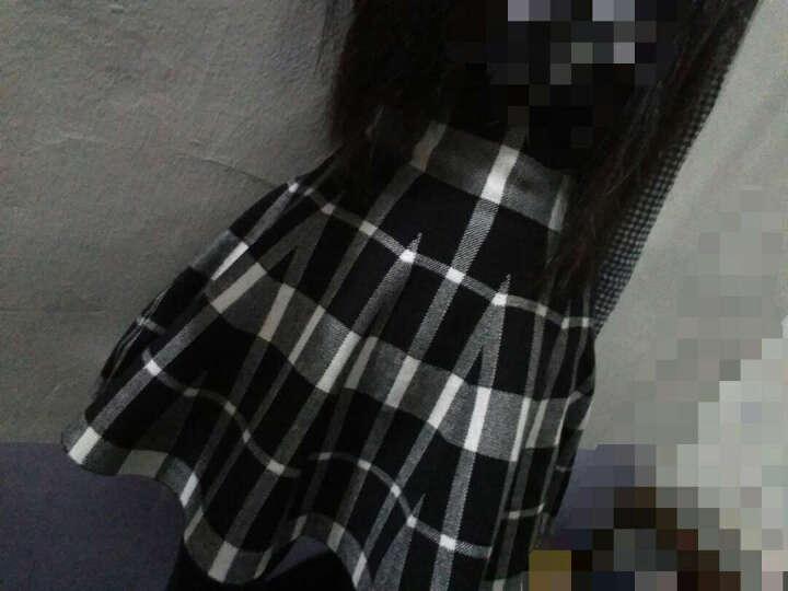 亦外 春秋冬装女新品半身裙短裙韩版高腰针织荷叶裙 A字裙 弹力大码 甜美时 黑白格 均码 晒单图