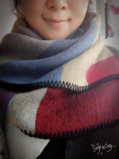 故事女人秋冬女士仿羊绒保暖围巾 冬季情侣大衣百搭加厚披肩冬天围脖女 方格棕红色 晒单图