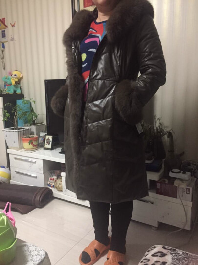 狄派斯海宁真皮皮衣女士真皮羽绒服女中长款修身狐狸毛领大衣外套 黑色 L 晒单图