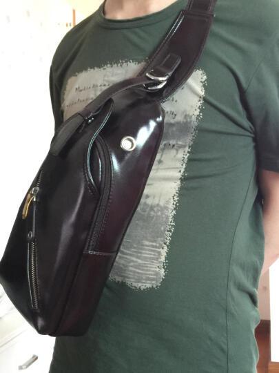 红谷 真皮男士胸包软 头层牛皮斜挎包男款腰包户外背包休闲 真皮黑色 晒单图