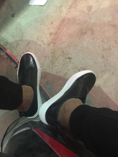 太平鸟男装 黑色厚底休闲鞋黑白细带板鞋牛皮皮鞋 BWZD63102 黑色 41 晒单图