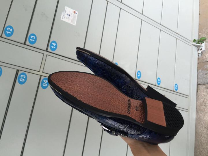 呈远皮鞋男士真皮皮鞋商务休闲鞋特大小码尖头鳄鱼纹英伦婚鞋 黑色套脚四季鞋 40 晒单图
