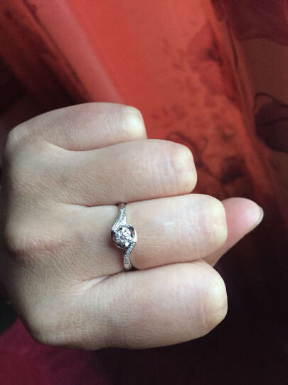 钻石小鸟 Zbird 18K金钻石戒指 18分求婚订婚结婚女款 12号 丝缠 晒单图