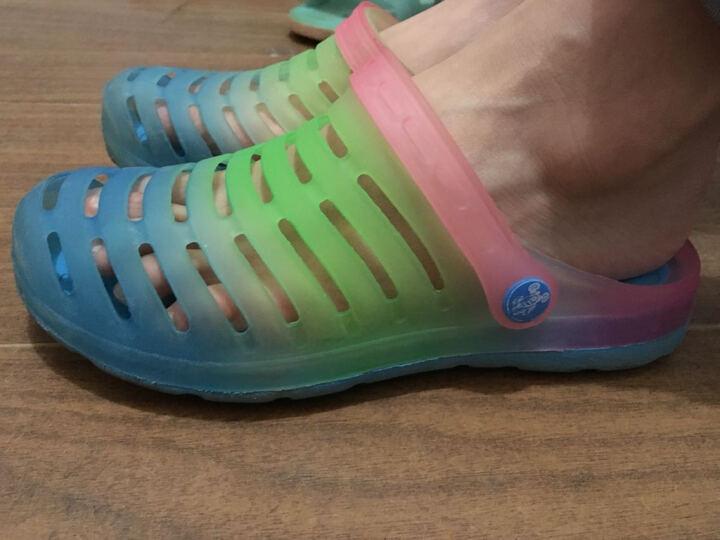 LUOKEN骆肯 洞洞鞋男沙滩鞋凉鞋包头套脚男鞋彩虹渐变233-5 湖水蓝(男) 43 晒单图