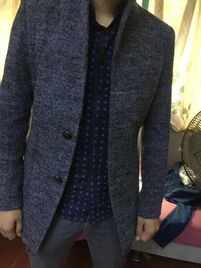 轩航毛呢大衣男中长款2018秋冬季休闲毛呢子大衣外套 韩版修身 灰色加绒1591 M 晒单图