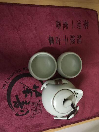 清彩 汝窑旅行功夫茶具套装快客杯 盖碗茶杯旅行茶具包 陶瓷器一壶二杯一茶盘送旅行包 雄风壶加汝瓷茶盘送包 晒单图