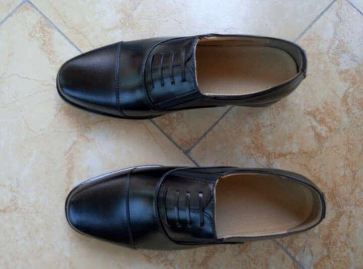 AOTU 校尉常服三接头皮鞋男士三节头军官鞋 黑色3515-07B松紧款 42 晒单图