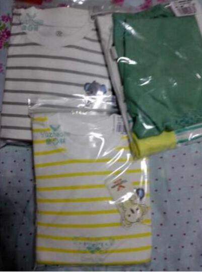 俞兆林春秋儿童纯棉内衣套装男女童秋衣裤2件套 肩扣横条树袋熊-黄色 120CM 晒单图