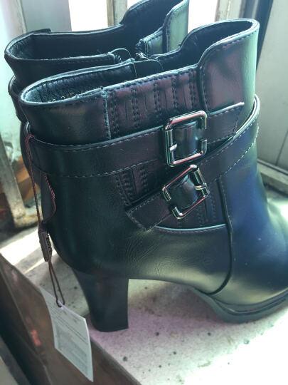 【精选】雅诗莱雅新款鱼嘴鞋粗跟高跟鞋圆头高跟靴子女靴粗跟裸短靴厚底低筒女鞋 红色3048 36 晒单图
