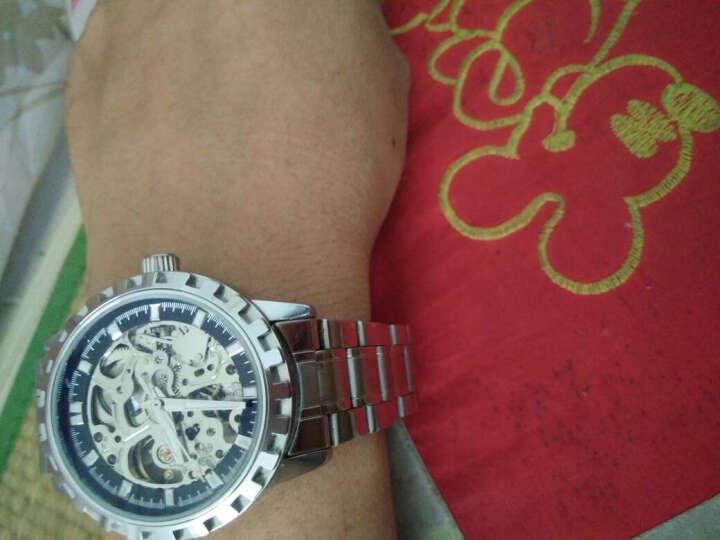 威龙(wilon)手表男士钢带全自动机械表镂空背透皮带男士手表运动时尚商务男表892 钢带-蓝玻璃黑面 晒单图