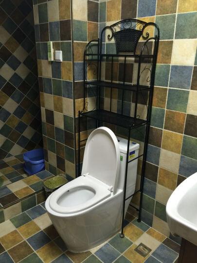 忆凡 浴室洗衣机置物架铁艺马桶架层架卫生间置物架脸盆落地收纳架调节 厕所马桶架花架 黑色 晒单图