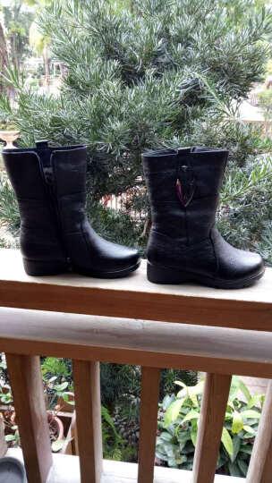 莎美茜女靴真皮马丁靴女士加绒保暖棉鞋舒适妈妈鞋欧美风潮流中筒靴子女 黑色绒里 37 晒单图