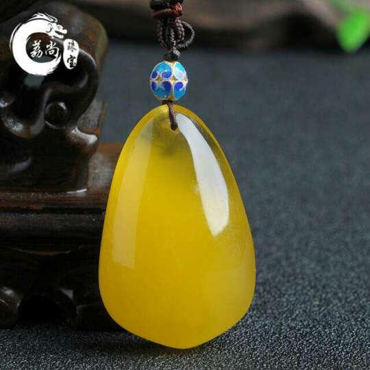 荔尚 珠宝 琥珀 (蜜蜡)吊坠 柠檬黄女款随形琥珀玉坠带证书 蜜蜡吊坠 琥珀吊坠 LH7212 晒单图