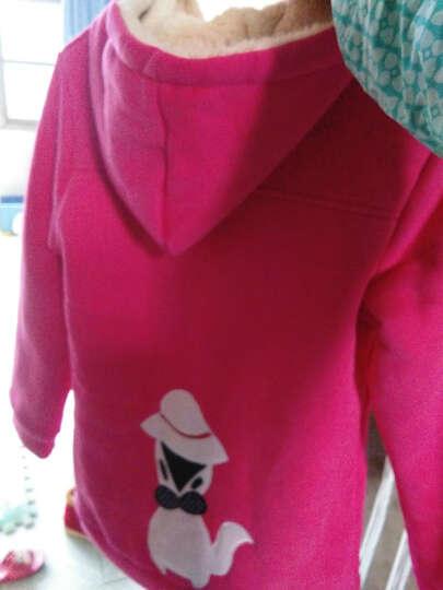 丝丝百合 童装女童秋冬装2018新款儿童卫衣外套加厚加绒大童中长款冬季上衣 玫红色 140 晒单图