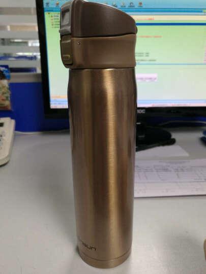 先行(CENSUN) 304不锈钢保温杯真空水杯直身杯子弹跳杯轻量水杯480ml 香槟金 晒单图