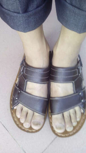 MR.KANG牛皮软皮男士凉鞋沙滩鞋人字拖男凉拖鞋夏季休闲男鞋 1385黑色 41 晒单图