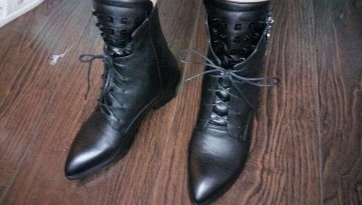 汀芷物语短靴女秋冬女靴真皮绑带英伦马丁靴粗跟中跟铆钉侧拉链大码女鞋百搭显瘦靴子女 黑色(单里) 42(定做) 晒单图