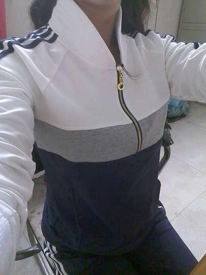 卓奈cholenite 运动服套装女士夏2018春秋修身显瘦卫衣两件套跑步休闲套装 长袖 白色-酒红色 XL [建议112-122斤] 晒单图