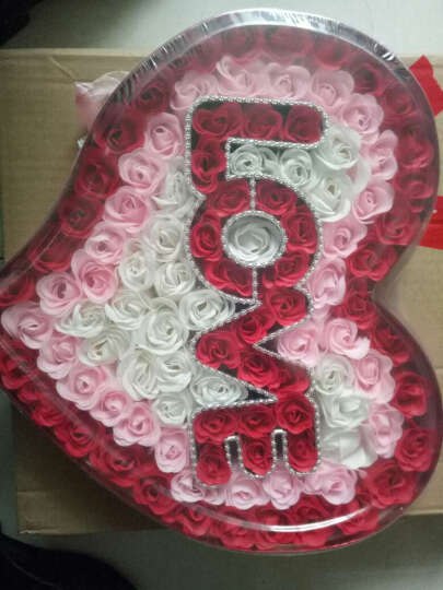 I'M HUAHUA 99朵玫瑰花香皂花礼盒同城保鲜花速递全国生日情人节礼物送女友永生花 无货-21朵红玫瑰灰扁盒 晒单图