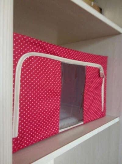 收纳箱整理箱储物箱塑料可视特大号牛津布衣物棉被子收纳袋收纳柜收纳包钢架整理袋衣物收纳盒 藏青点点 88L (三钢架) 晒单图