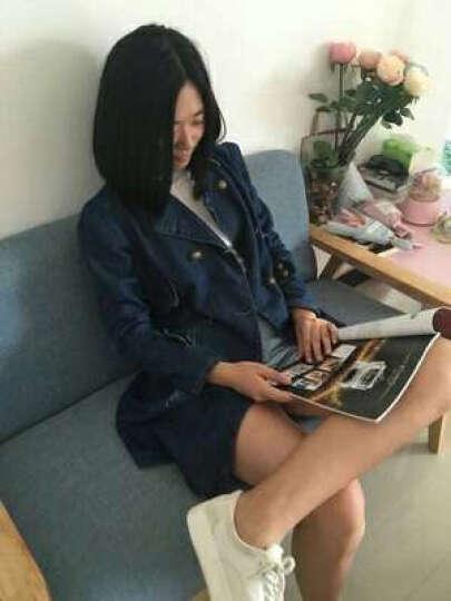 菲梵英牛仔外套长袖中长款秋装上新款韩版修身翻领宽松外套大衣风衣 蓝色 XXXL 晒单图