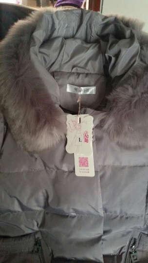 念露冬季新款女装韩版时尚A字修身休闲羽绒服女中长款连帽加厚外套9962 灰色真毛领 XL适合140斤一下 晒单图