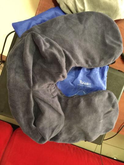 Tuban 新款充气枕旅行枕充气u型枕头户外睡枕旅行枕便携护颈枕 连帽款涤棉布蓝色 晒单图