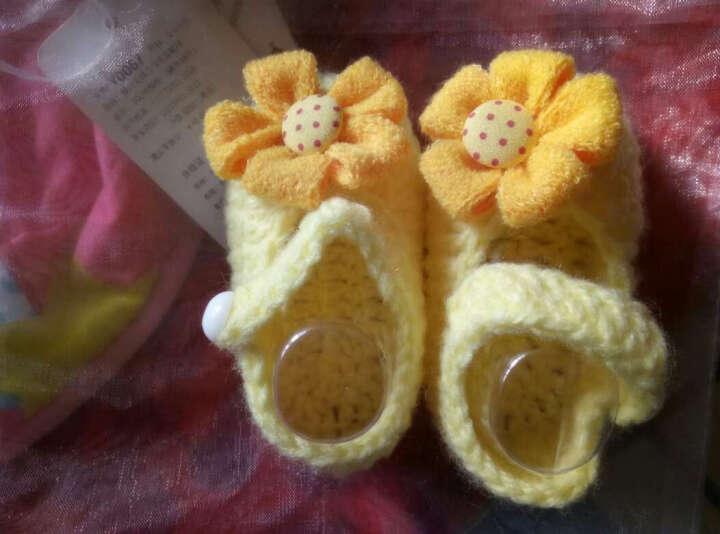 Yamilan 婴儿毛线袜新生儿手工编织鞋袜男女幼儿立体地板袜春秋薄款造型袜子 26# 白底+波浪花 0-6个月/脚长10厘米以内 晒单图