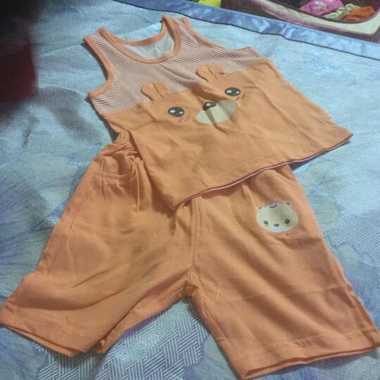 【20款可选】猫人婴儿纯棉衣服夏季背心套装休闲男女童背心短裤套衣服 圆点小桃心-橙色 110CM 晒单图