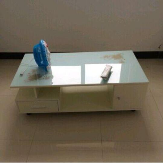 鸿畅 现代简约家用钢化玻璃茶几 简易创意柜子 小户型客厅小茶几 红檀木加白色造型门抽加白色钢化玻璃 晒单图