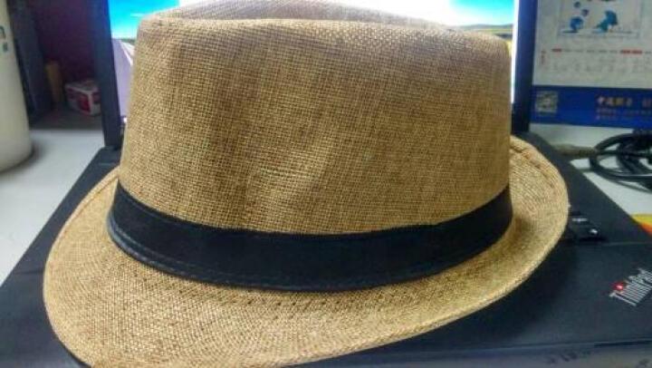 真爱思 帽子男士春夏季韩版潮男帽 夏天爵士帽英伦复古绅士帽毡帽 上海滩男礼帽女亚麻遮阳草帽 棕色黑带(亚麻) 晒单图