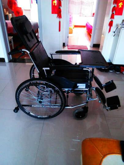 互邦 铝合金轮椅多功能老人看护全躺带座便可拆卸护理型钢管手动轮椅HBL11 充气胎带餐桌可拆卸扶手 晒单图