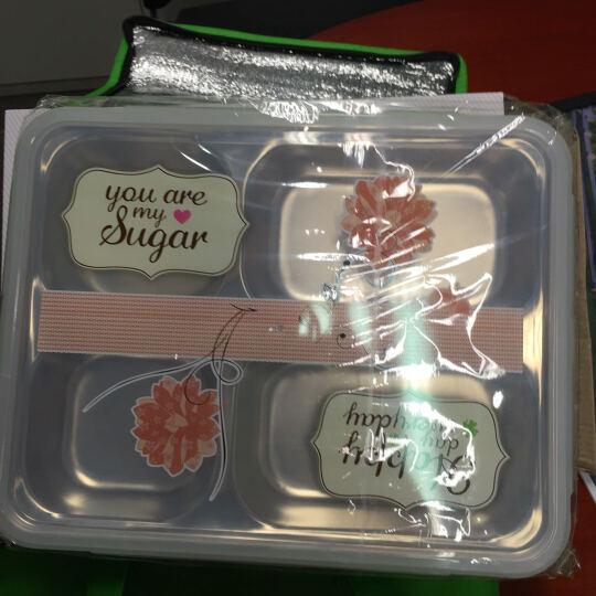 芮家德 大号304不锈钢分格饭盒成人中小学生便当盒分隔餐盘保温密封餐盒 大号绿色+白网格提袋 晒单图