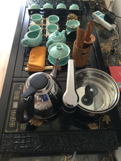 甲馨 紫砂整套功夫茶具套装 陶瓷茶壶茶杯四合一电热磁炉一体实木茶盘套装 黑色喜上梅梢冰裂茶具套装 晒单图