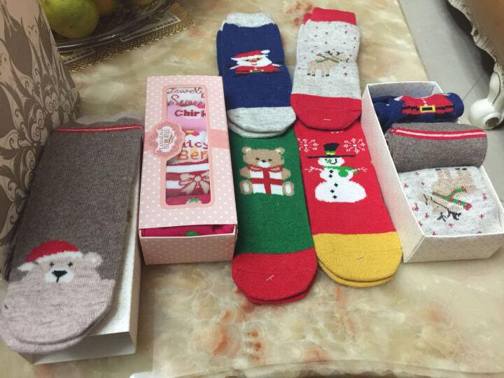 拉夏莉亚儿童袜子宝宝羊毛袜圣诞袜男婴儿新生儿男童女童加厚秋冬3-5-7-12岁 红色 7-12岁脚长 17-23cm 晒单图