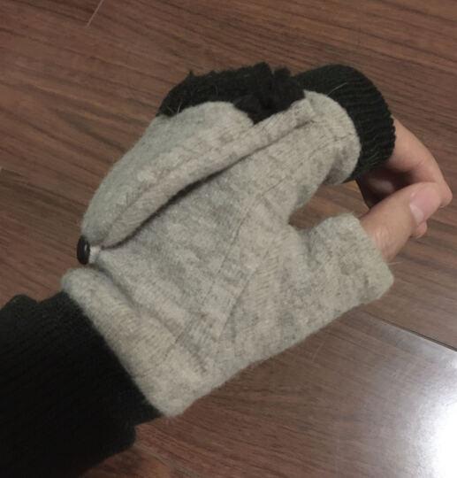 乐为女士手套女秋天冬季可爱半指两用羊毛保暖手套加绒加厚女生学生露指女式 14FD171 A款灰粉 晒单图